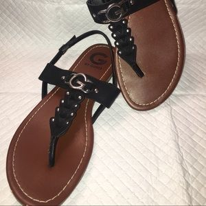 G by Guess Shoes - G by Guess black thong sandals.